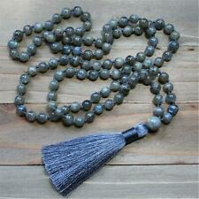 Knotted Necklace Fancy Yoga Buddhism 8mm Natural Labradorite 108 Beads Tassel