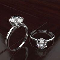 Solid Damen Ring Echt Silber 925 8x8 mm Moissanit Edelstein Damenringe Geschenk.