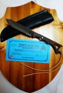 NEW Tops Knife Rocky Mountain spikeBronze/Black leather sheath Backup/boot knife