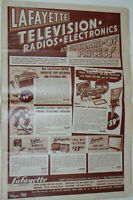 VINTAGE 1950 LAFAYETTE ELECTRONICS SALE FLYER! TV SETS $150-$424! TUBE RADIOS!