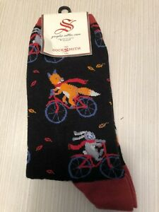 Women's Socksmith Crew Socks Fox and Rabbit on Bike