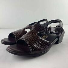 SAS Suntimer Women 10 M Brown Leather Leather Slingback Sandal Comfort Shoe