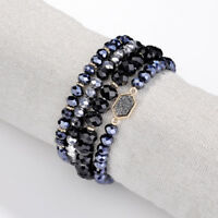 YX065 Hexagon Druzy Stretch Beaded Bracelets Set Boho Seed Bead Bracelet Stack