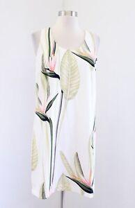 Ann Taylor Petite Ivory Green Tropical Palm Floral Print Shift Dress Size 4P