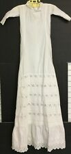 VINTAGE VICTORIAN GIRLS WHITE LONG CHRISTENING GOWN DRESS EMBROIDERED EYELETS