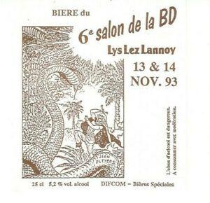 Pleyers. Etiquette de bière. 6e salon de la BD Lys Lez Lanoy (1993)
