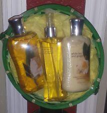BATH AND & BODY WHITE TEA & GINGER women's gift basket  NWT shower lotion mist