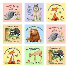 Magic Forest Fabric Panel Blocks Elizabeths Studio Fox Bear Raccoon Deer