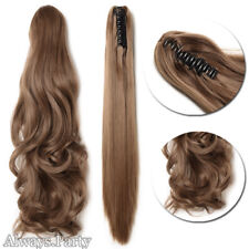 Extra Long Thick Claw Clip in on Ponytail Hair Extensions Brown NEW As Human PR7