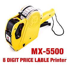 New Price Labeler MX-5500 Printing Rates Rate printer Label Gun 8 Digits