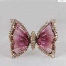 Pink Tourmaline Gemstone Butterfly Design Ring Solid 14k Yellow Gold Diamond NEW