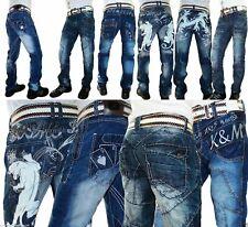 Herren Jungen Jeans Kosmo Lupo Clubwear Desing Dicke Nähte Style Jungs W29-W36