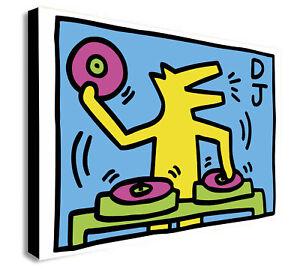Keith Haring - DJ Dog - Canvas Wall Art Framed Print - Various Sizes