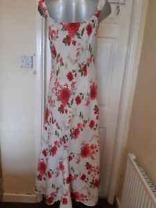 Per Una dress size 14L Linen white with pink flowers summer/holidays