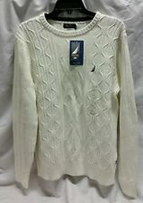 NAUTICA CREW NECK PULL OVER ROPE KNITTED MEN SWEATER SIZE LARGE, WHITE