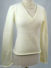 Arden B. NEW Off White Sweater V Neck Pullover loose large knit top Women's SZ S