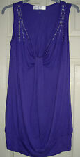 Internationale Purple & Silver Studded, Long Vest Top size 10