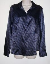 "George Black & Blue Long Sleeve Button Down Blouse M 8-10  Bust 38""  Length 25"""