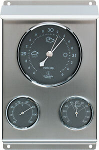 Weather Station Barometer Thermometer Hygrometer Stainless Steel