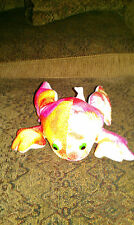 Plush Frog Multicolor swirled watercolor pattern yellow pink orange red white