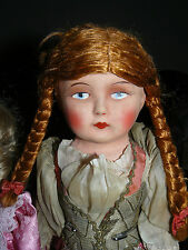 Rare Antique Papier Mache Hungary Cloth Doll pin on her upper thighs