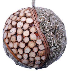 Wood Slice Mosaic Leaf Decorative Ball Ornament Natural Christmas Tree 526