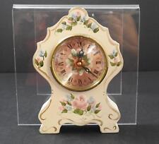 """Vintage Quartz Clock Distressed White Flowers Roman Numerals On Face 7 1/8"""" GD1"""