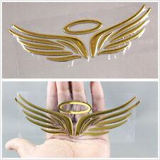 Golden 3D Car Logos Vehicle Body Tail Guardian Angel Wings Emblem Sticker YU