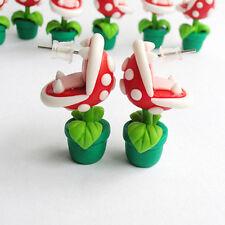 Mario Brothers Earrings Handmade Stud Piranha Plant Yoshi Cartoon Polymer Clay