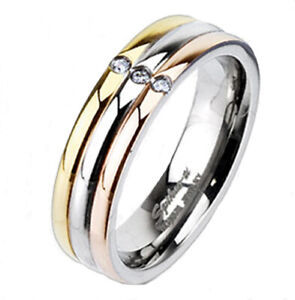 CLOSEOUT! Titanium Tri-Color Striped 0.09 Carat CZ Wedding Band Ring Size 5 or 8