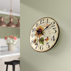12 Inch Sunflower Kitchen Wall Clock Rustic Farmhouse Clocks Thick Wood Home Dec