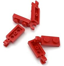 Lego 5 New Red Plate Pieces Modified 1 x 2 with Clip Horizontal on End