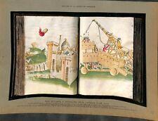 Tour de siège roulante à catapulte au moyen âge manuscrit de  ILLUSTRATION 1936