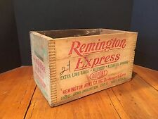 Vintage Finger Jointed Wooden Ammunition Crate Remington Express Shot Shells