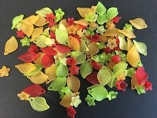 125pc ass. frosted flower/leaf mix - Autumn colours - acrylic beads - Aus stock