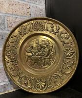 "Vtg Peerage Brass Plate Wall Hanging Made in England 11"" Embossed Men Tavern"