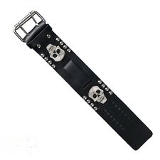 Biker Plain Black Leather Watch Band Buckle Close - Skull Head - USA MADE