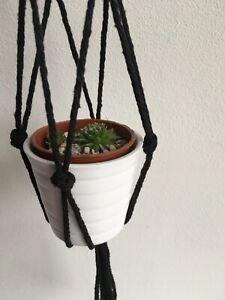 Black Plant Hanger/s Macrame Hanging indoor/outdoor Goth Pot Holder 100% Charity