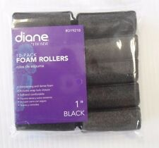 "Diane Soft Foam Cushion Hair Rollers Curlers Large 10-Pieces 1"" Black D1921B"