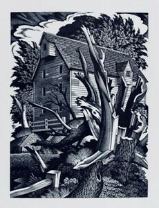 GEORGE E.MACKLEY Wood Engraving The Mill (aka Broken Willow). Shenval Press 1950
