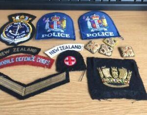 no medals - mix of cloth badges New Zealand - shoulder titles - WW1 pips - RN et