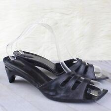 Robert Clergerie Square Toe Sandals Slides Heels Black Leather Size 9.5