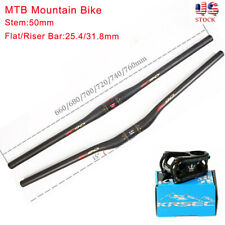 EC90 Mountain Bike Carbon Handlebar 31.8/25.4*660-760mm Bicycle AL Bar Stem 50mm