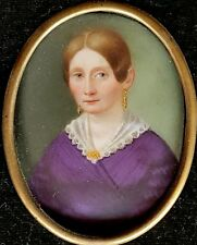 (B012) Miniatur Portrait einer Dame, auf Porzellan gemalt, um 1860