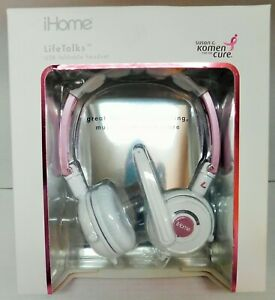 iHome Life Talks USB Foldable Headset Pink And White Limited Edition IH-H411UP