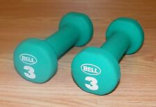 Genuine Bell Set of 2 3-Pound Green Dumbbell Hand Weights Only **READ**