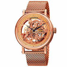 Men's Akribos XXIV AK732RG Automatic Skeleton Rose-tone Stainless Steel Watch