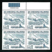 Italia Repubblica 2009 - XIII Campionati Nuoto -  quartina con codice a barre