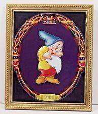 """Walt Disney Bashful Snow White Seven Dwarfs Gold Frame Glass 11"""" x 8"""" Print"""