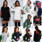 Women Loose Floral Top Blouse Shirt Long Sleeve Casual Cotton T-Shirt Mini Dress